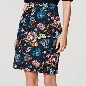 LOFT teal floral paisley skirt